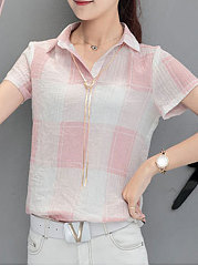 Summer  Polyester  Women  Turn Down Collar  Plaid  Short Sleeve Blouses