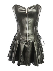 Sexy Jumpsuit  Strapless Bustier Zipper Faux Leather Corset For Women