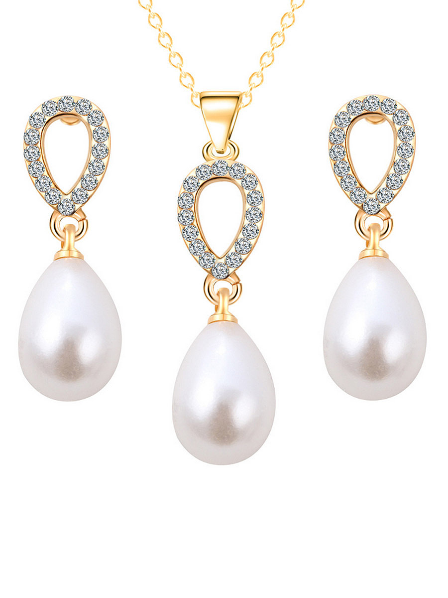 Water-Drop Pearl Zircon Necklace And Earring