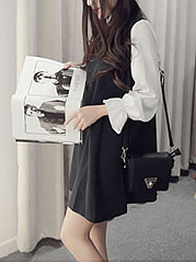 Band Collar  Plain Casual Shift Dress