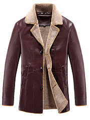Lapel Fleece Lined PU Leather Men Coat