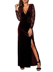 V-Neck  High Slit  Lace Plain Maxi Dress