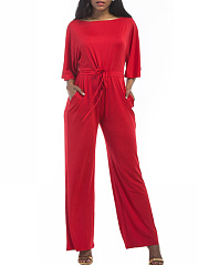 Boat-Neck-Drawstring-Plain-Pocket-Wide-Leg-Jumpsuit