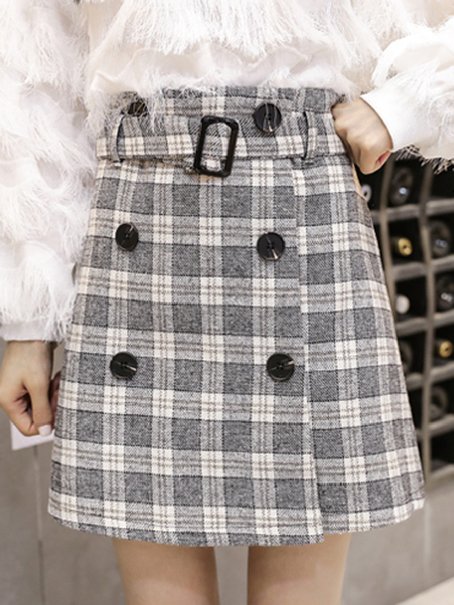 Plaid Double Breasted Belt A-Line Mini Skirt