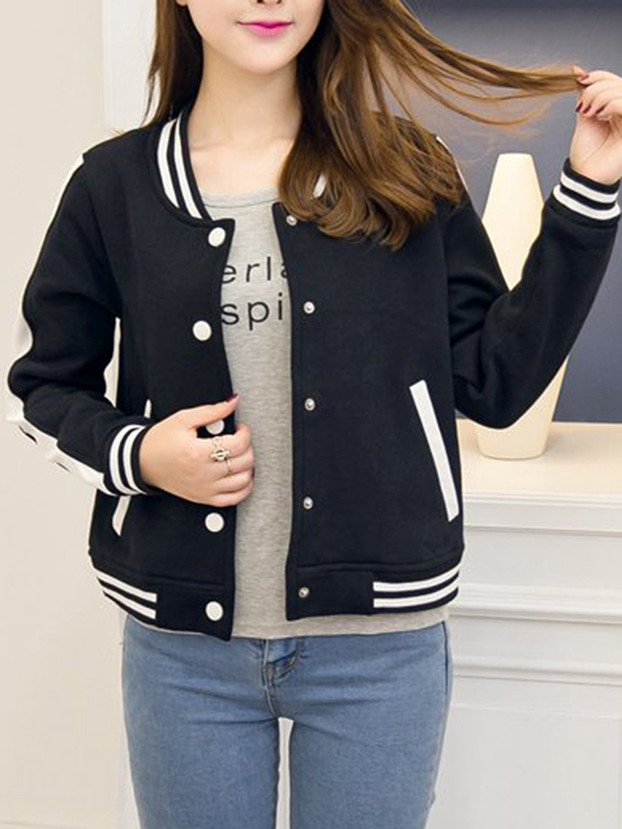 Band Collar Striped Single Breasted Pocket Jacket