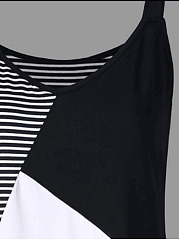 V-Neck  Patchwork  Color Block  Sleeveless Plus Size Tops