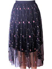 Embroidery-Hollow-Out-Flared-Midi-Skirt