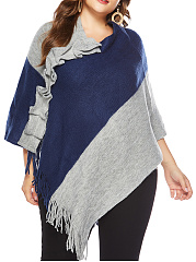 Tiered  Color Block  Cape Sleeve Cape