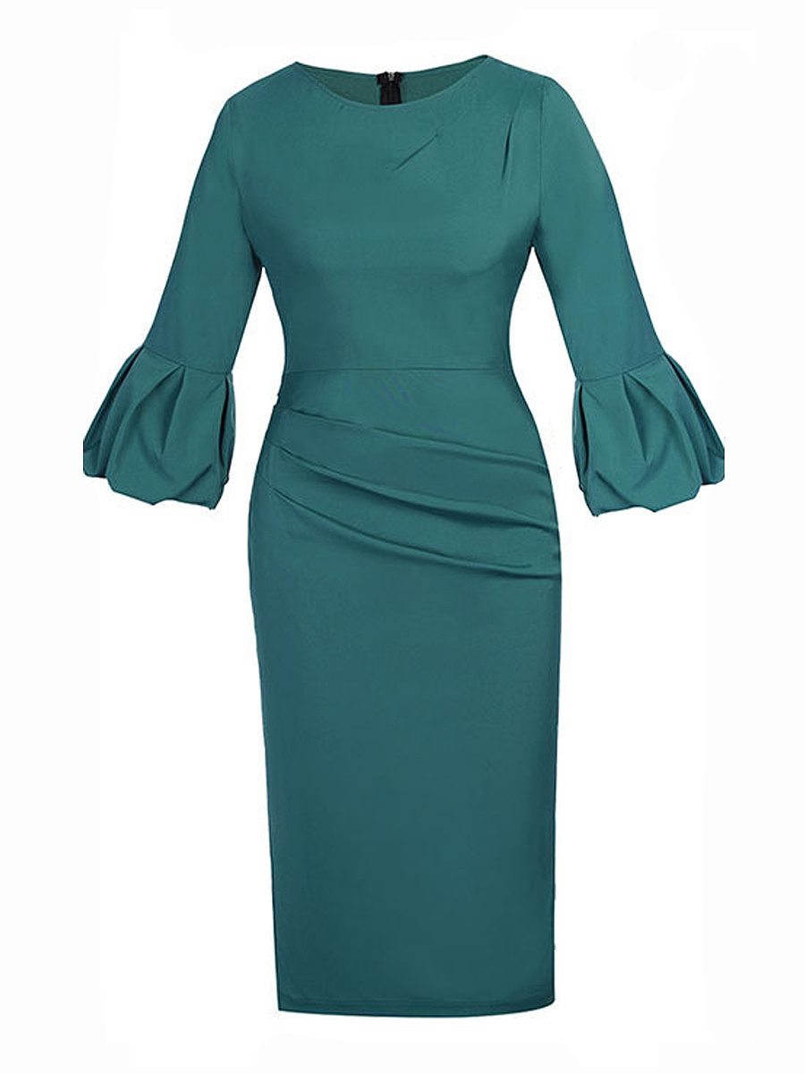 Vintage Solid Bell Sleeve Round Neck Bodycon Dress