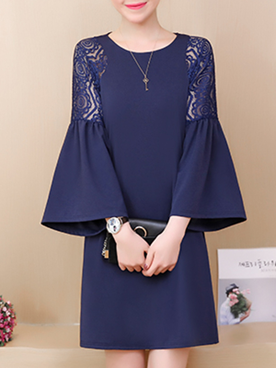 Polyester  Round Neck  Patchwork  Plain Shift Dress