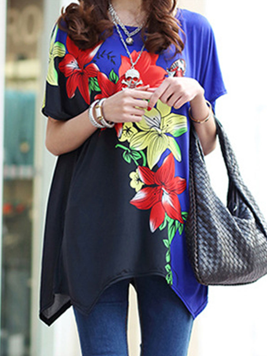 Spring Summer Polyester Women Round Neck Asymmetric Hem Floral Printed Short Sleeve T-Shirts