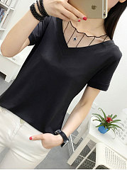 Summer  Polyester  Women  V-Neck  Decorative Lace  Plain Short Sleeve T-Shirts