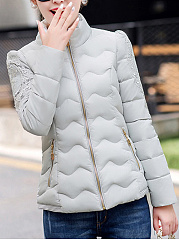 Band Collar Pocket Quilted Plain Coat