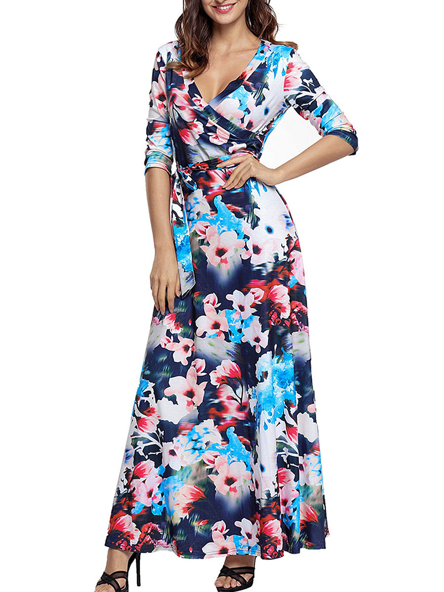 Deep V-Neck Maxi Dress In Floral Printed