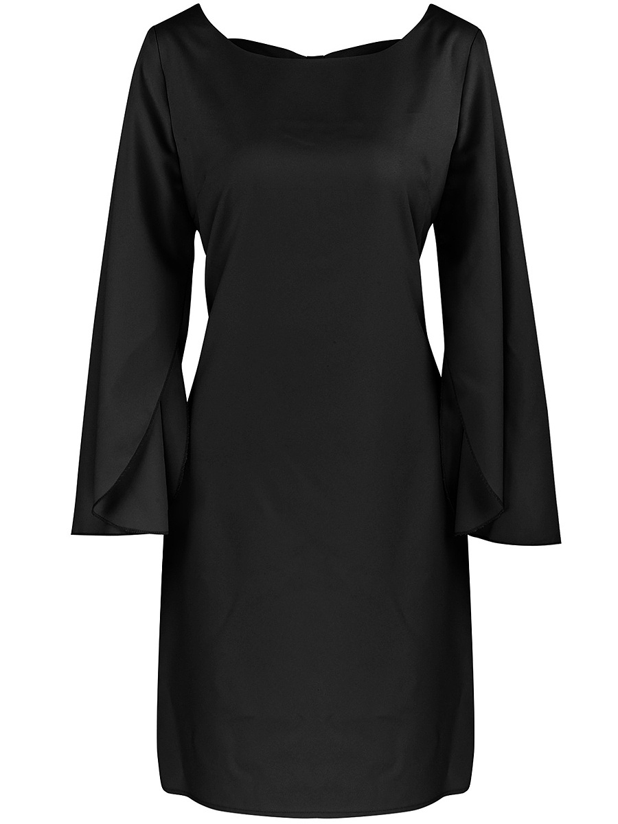 Round Neck Plain Shift Dress With Split Sleeve