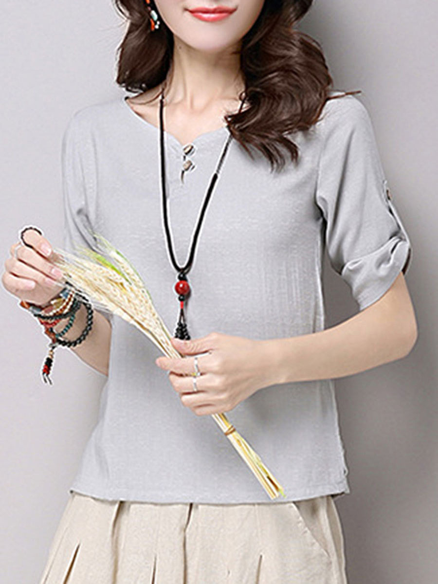 Split Neck Plain Roll-Up Sleeve T-Shirt