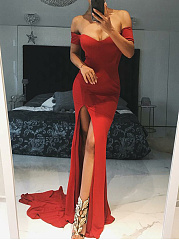 Off Shoulder  High Slit  Plain Maxi Dress