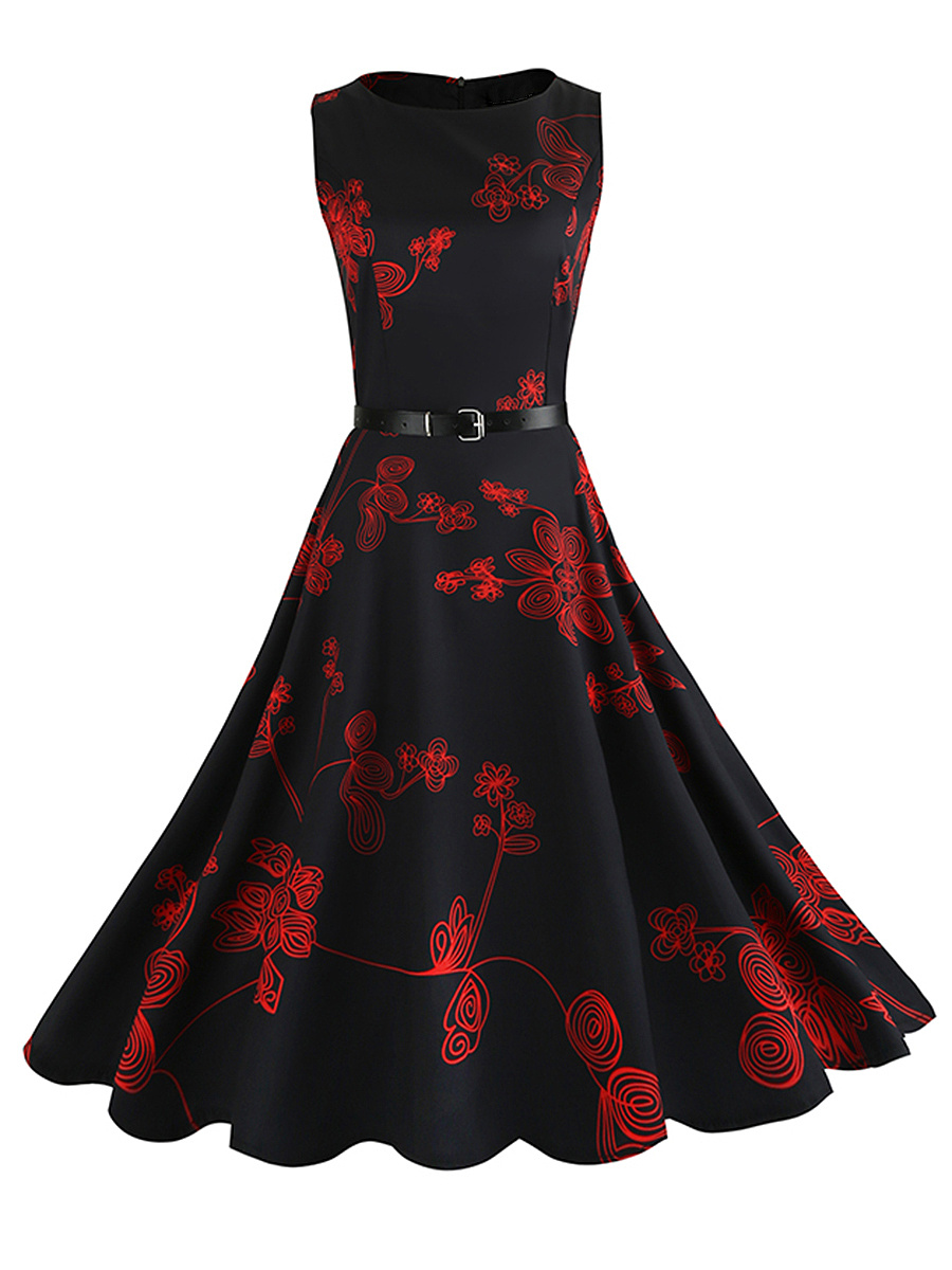 Round Neck  Belt Remarkable Printed Sleeveless Skater Dress