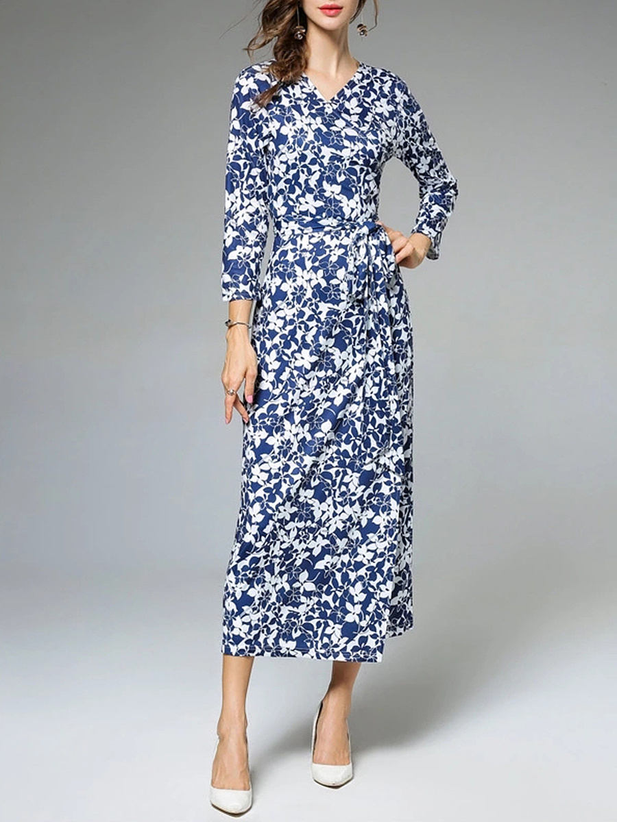 V-Neck Allover Floral Printed Bowknot Maxi Dress