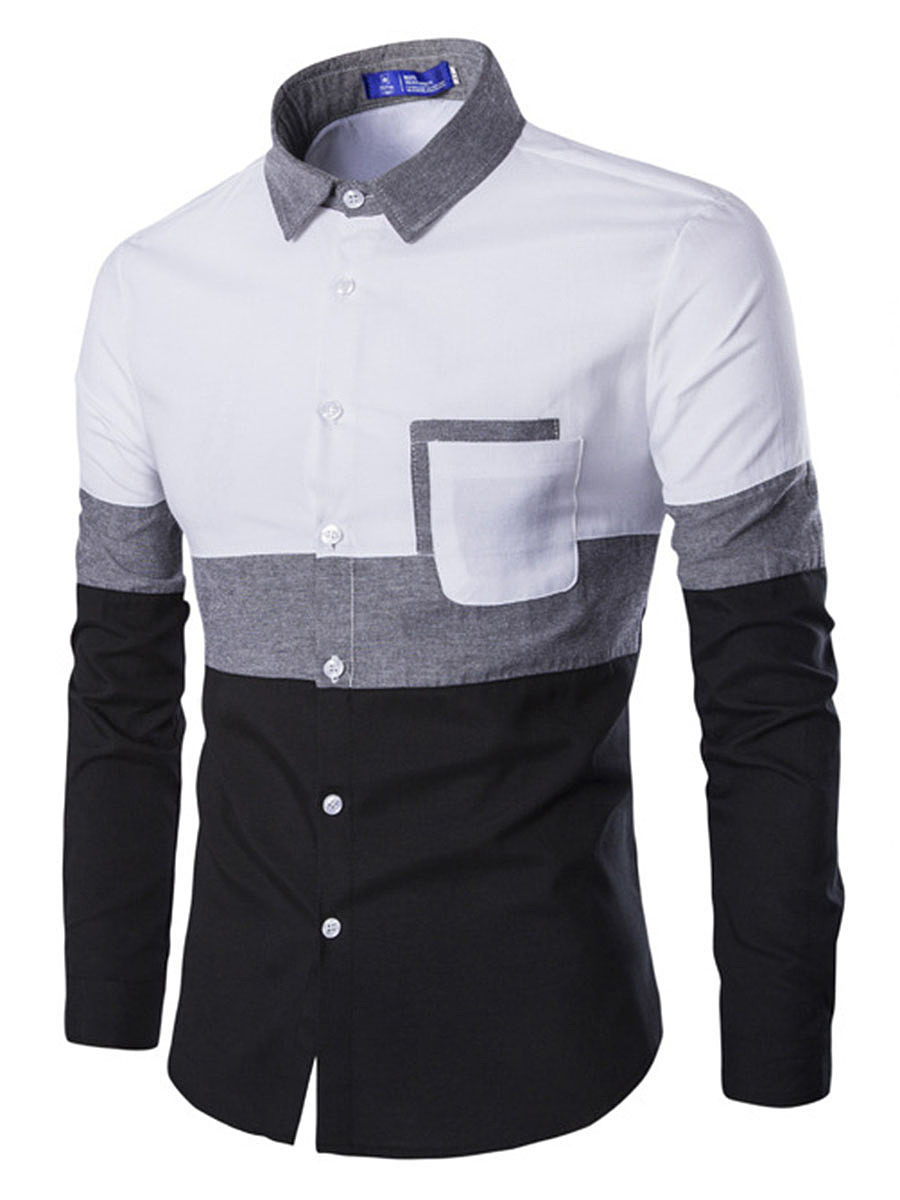 Color Block Patch Pocket Men Shirts