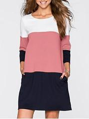 Round Neck Long Sleeve Color Block Casual Dress