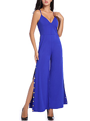 Split-Neck-Plain-High-Slit-Single-Breasted-Wide-Leg-Jumpsuit