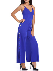 Split Neck Plain High Slit Single Breasted Wide-Leg Jumpsuit