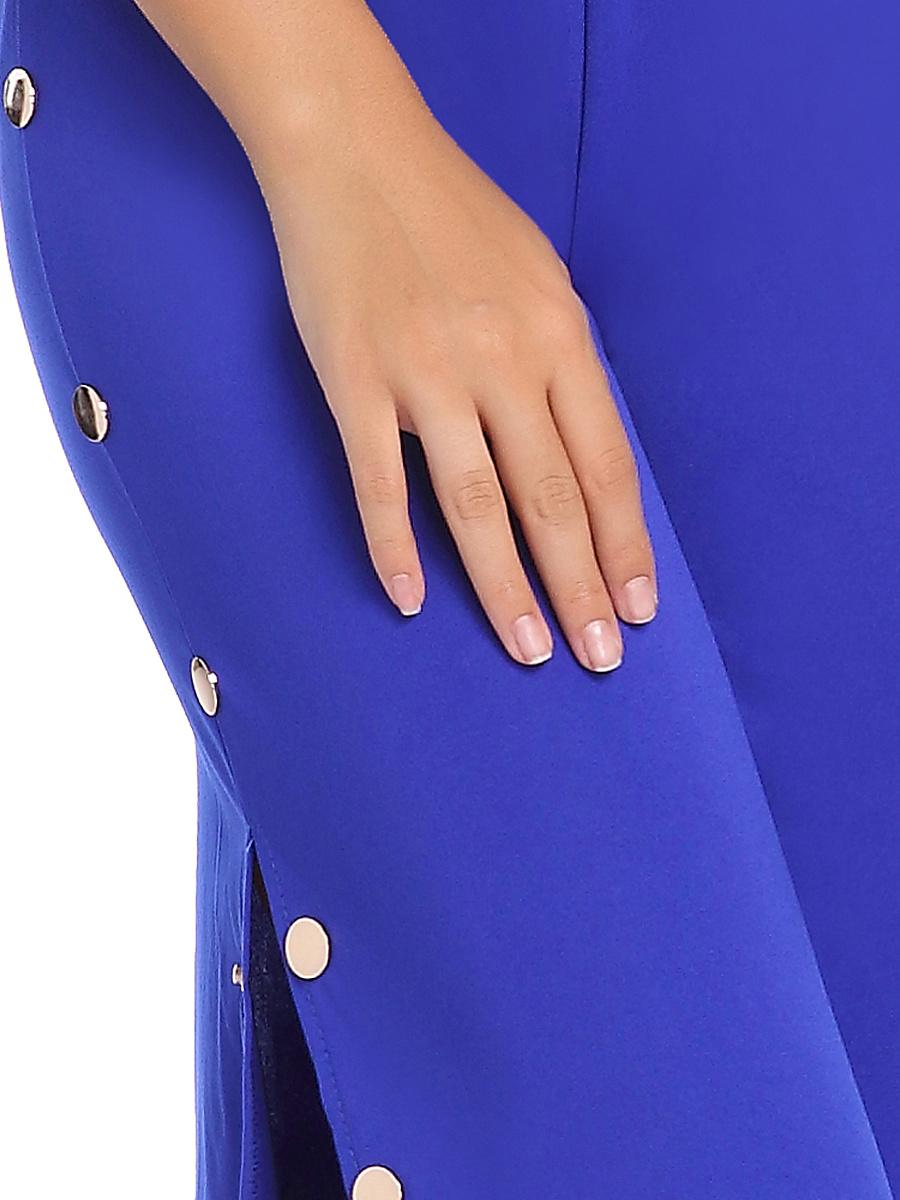 Split Neck Plain High Slit Single Breasted Wide-Leg Jumpsuit
