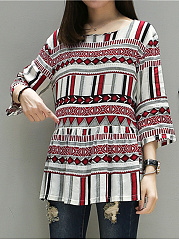 Loose Round Neck Printed Blouse