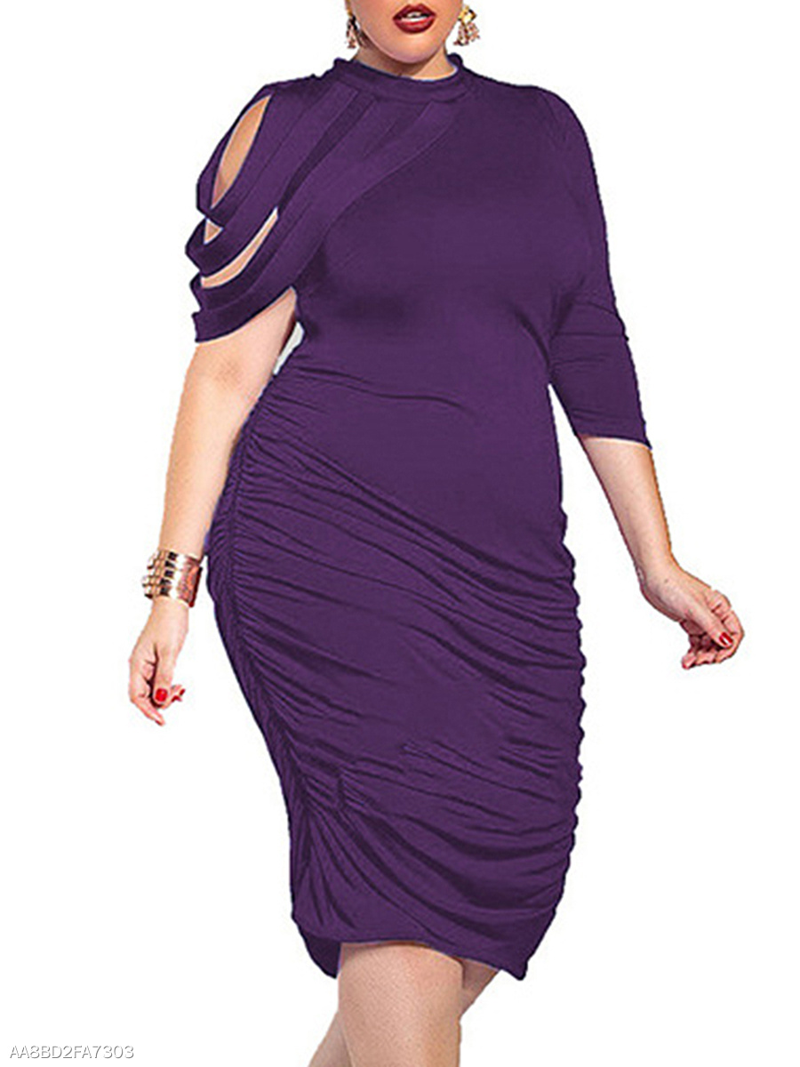 Crew Neck  Plain Plus Size Bodycon Dresses