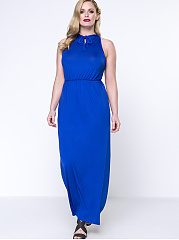 Courtly Tie Collar Plain Plus Size Maxi Dress