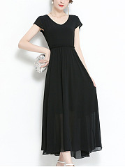 V-Neck Solid Chiffon Maxi Dress In Black