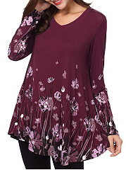 Autumn Spring Winter  Polyester  Women  Floral Printed Long Sleeve T-Shirts