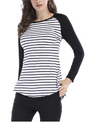 Round Neck  Asymmetric Hem  Striped Long Sleeve T-Shirts