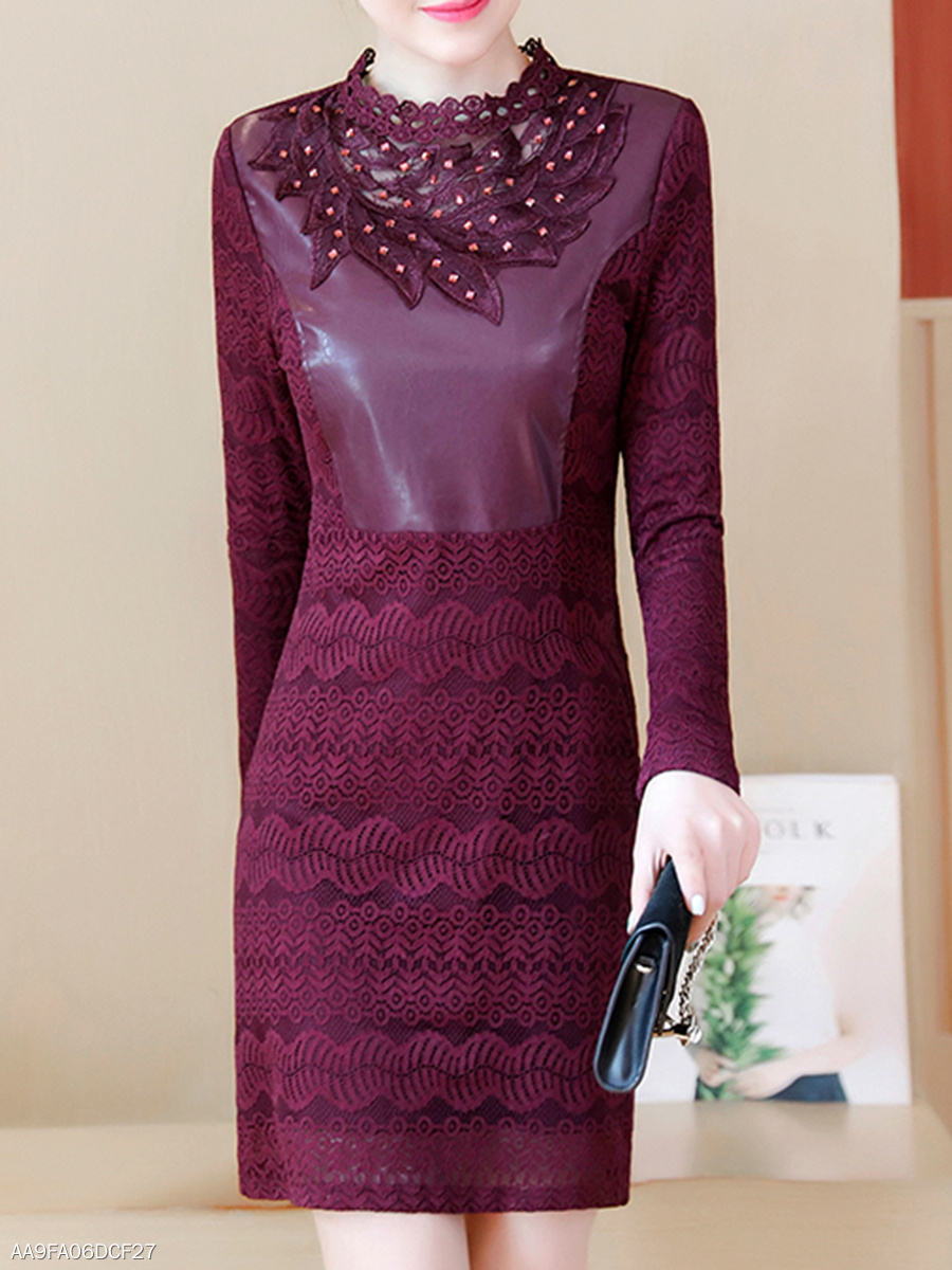 Band Collar Patchwork Hollow Out Plain Lace Bodycon Dress