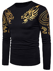 Round Neck Men Dragon Printed T-Shirt