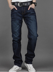 Flap Pocket Light Wash Straight Men's Jeans