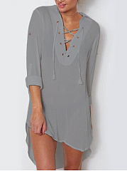 Lace-Up  Plain Daily Shift Dress