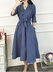 Fold Over Collar  Patch Pocket  Belt  Plain Maxi Dress