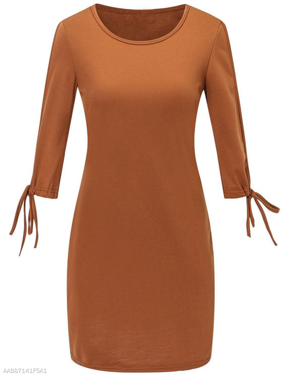 Round Neck  Lace-Up  High Stretch  Plain Bodycon Dress