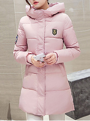 Hooded Quilted Plain Pocket Padded Coat