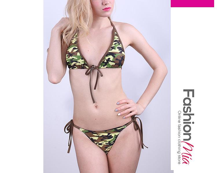 Halter  Camouflage Printed  Low-Rise Bikini Set