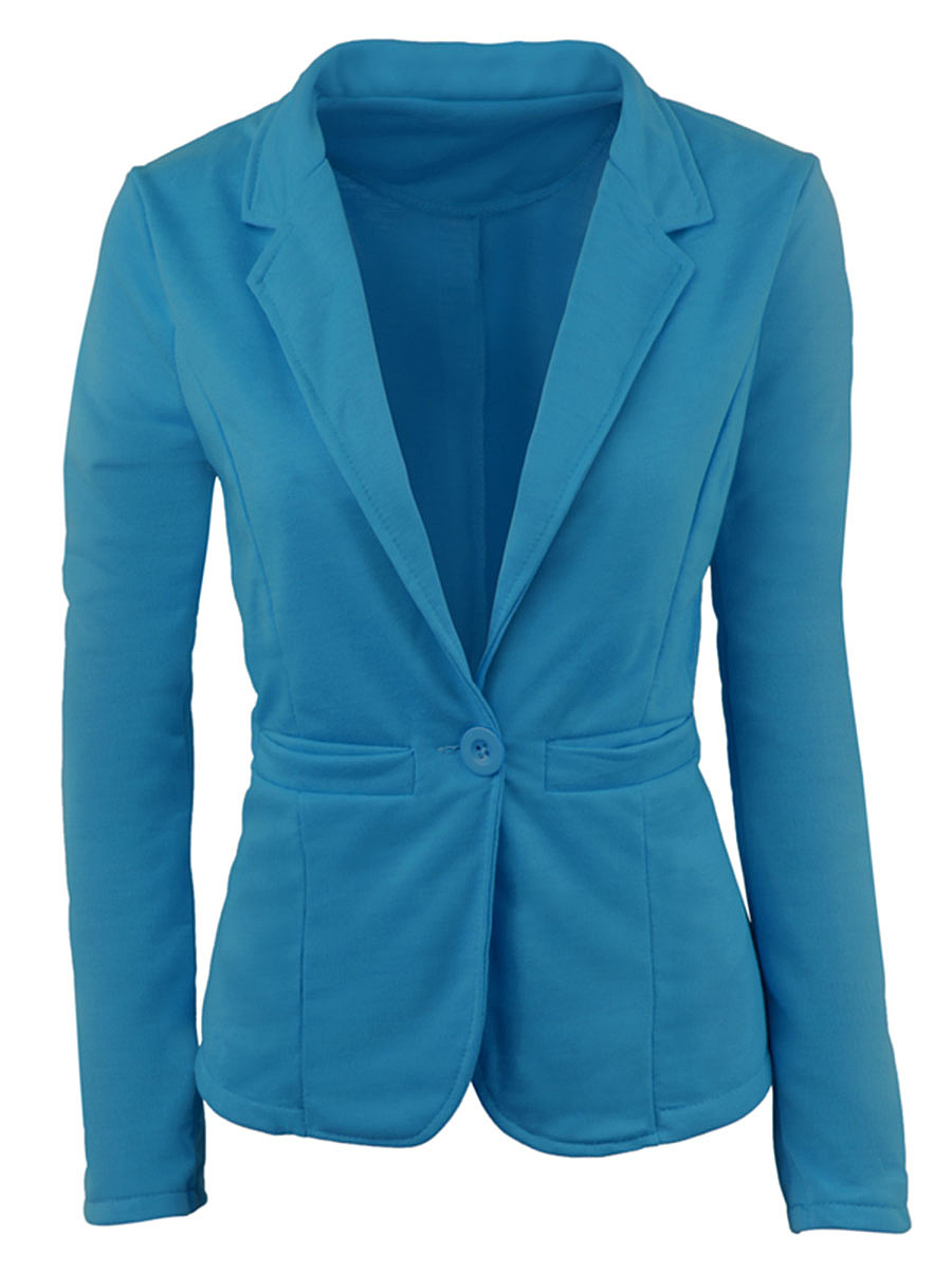 Single Button Solid Notch Lapel Long Sleeve Blazer