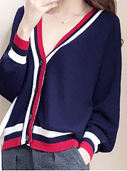 Contrast Piping  Striped  Long Sleeve Cardigans