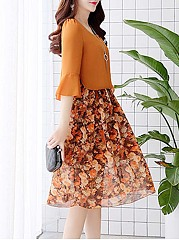 Charming Bell Sleeve Floral Printed Chiffon Skater Dress
