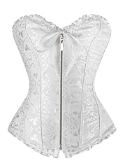 Ruffle Trim Bowknot Lace Up Corset