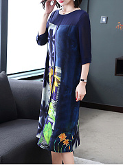 Round Neck  Printed Fashion Casual Maxi Dress