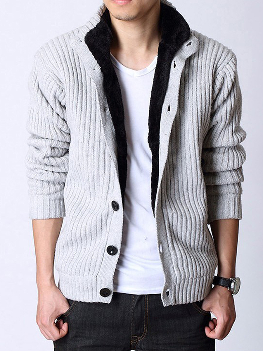 Fold-Over Collar Single Breasted Fleece Lined Men Coat