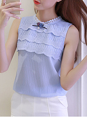 Summer  Cotton  Women  Round Neck  Decorative Lace  Hollow Out Plain  Sleeveless Blouses