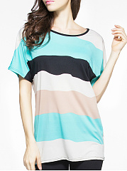 Spring Summer  Polyester  Women  Round Neck  Color Block Short Sleeve T-Shirts